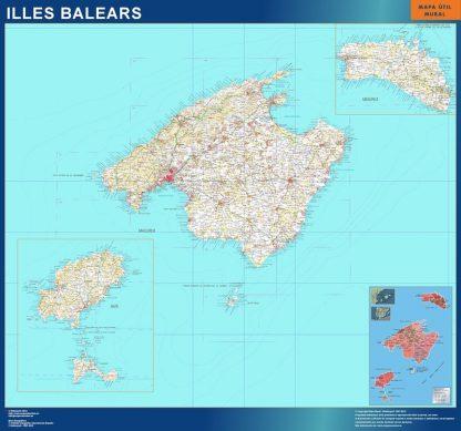 Mapa Provincia Islas Baleares enmarcado plastificado
