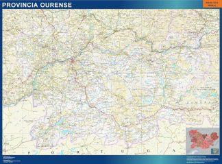 Mapa Provincia Ourense enmarcado plastificado