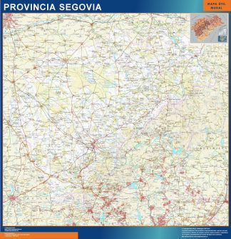 Mapa Provincia Segovia enmarcado plastificado