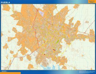 Mapa Puebla en Mexico enmarcado plastificado