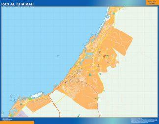 Mapa Ras Al Khaimah enmarcado plastificado