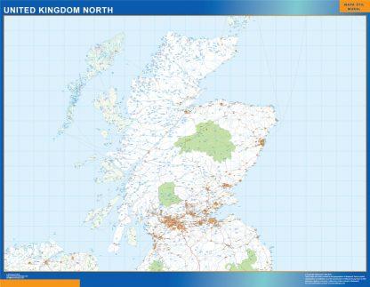 Mapa Reino Unido Norte carreteras enmarcado plastificado