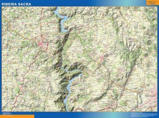 Mapa Ribeira Sacra enmarcado plastificado