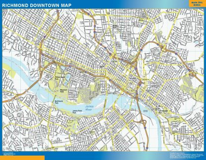Mapa Richmond downtown enmarcado plastificado