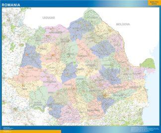 Mapa Rumania enmarcado plastificado