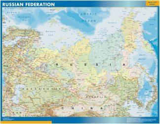 Mapa Rusia enmarcado plastificado