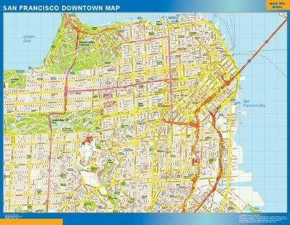 Mapa San Francisco downtown enmarcado plastificado