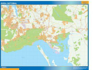 Mapa Setubal área urbana enmarcado plastificado