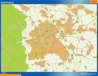 Mapa Sheffield enmarcado plastificado