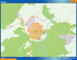 Mapa Soria callejero enmarcado plastificado
