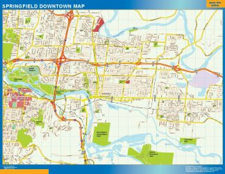 Mapa Springfield downtown enmarcado plastificado