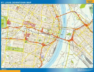 Mapa St Louis downtown enmarcado plastificado