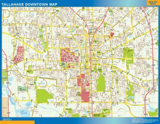 Mapa Tallahase downtown enmarcado plastificado