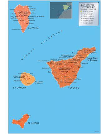 Mapa Tenerife por municipios enmarcado plastificado