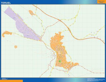 Mapa Teruel callejero enmarcado plastificado