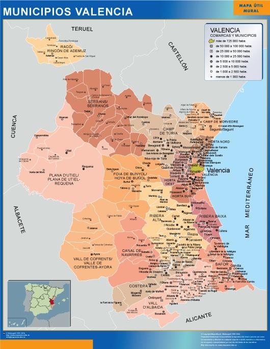Mapa De Valencia España.Mapa Valencia Por Municipios Enmarcado Plastificado
