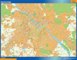 Mapa Varsovia Polonia enmarcado plastificado