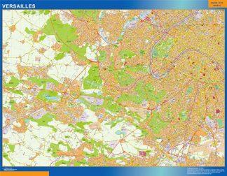 Mapa Versailles en Francia enmarcado plastificado