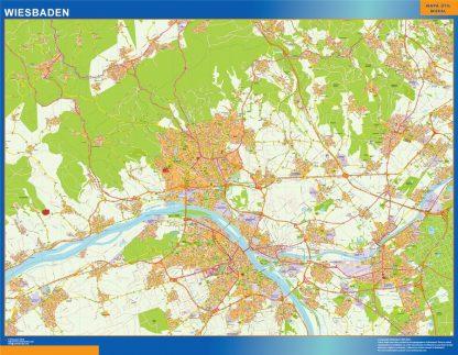 Mapa Wiesbaden en Alemania enmarcado plastificado