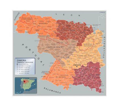 Mapa Zamora por municipios enmarcado plastificado