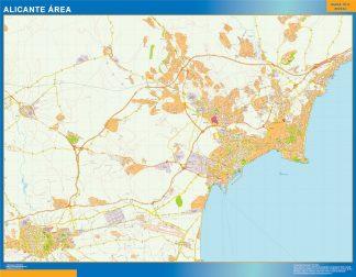 Mapa carreteras Alicante Area enmarcado plastificado