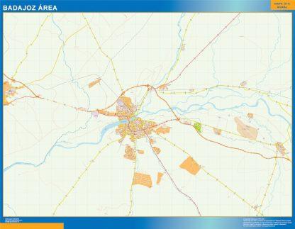 Mapa carreteras Badajoz Area enmarcado plastificado