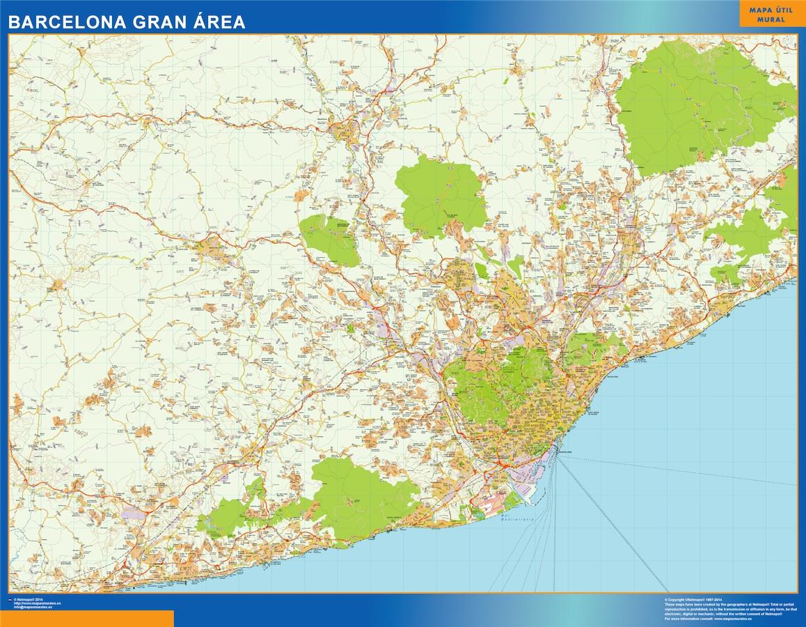 Mapa De Sevilla Capital.Mapa Carreteras Barcelona Gran Area Enmarcado Plastificado