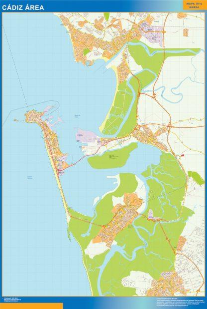 Mapa carreteras Cadiz Area enmarcado plastificado