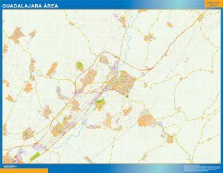 Mapa carreteras Guadalajara Area enmarcado plastificado
