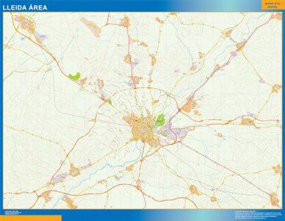 Mapa carreteras Lleida Area enmarcado plastificado