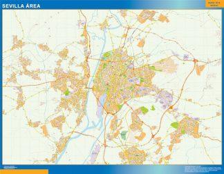 Mapa carreteras Sevilla Area enmarcado plastificado