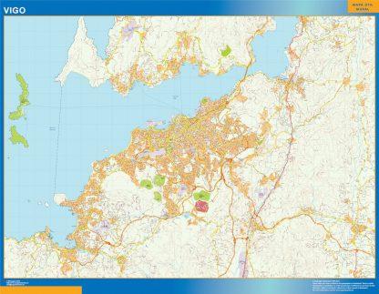 Mapa carreteras Vigo Area enmarcado plastificado