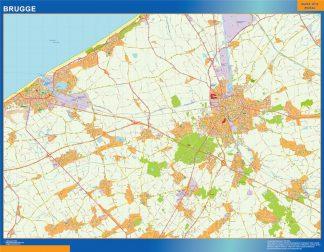 Mapa de Brujas en Bélgica enmarcado plastificado