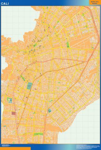Mapa de Cali en Colombia enmarcado plastificado