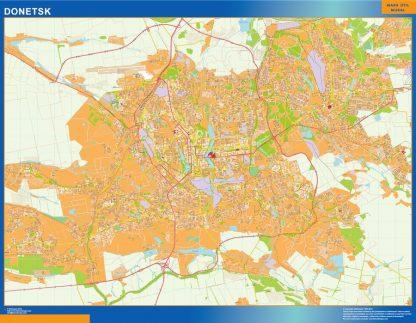 Mapa de Donetsk en Ucrania enmarcado plastificado