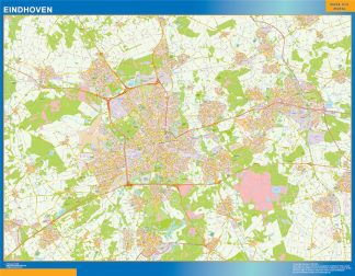 Mapa de Eindhoven enmarcado plastificado