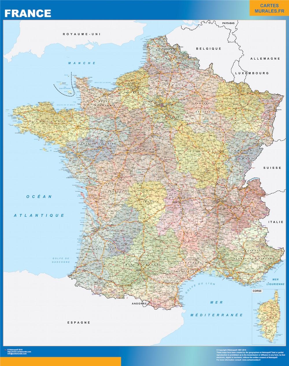 Mapa Politico De Francia 2019.Mapa De Francia Politico Enmarcado Plastificado
