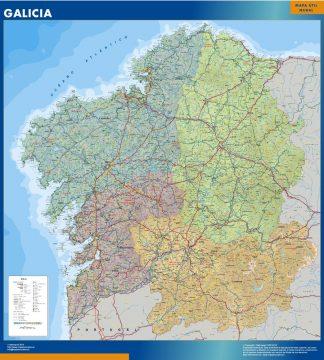 Mapa de Galicia enmarcado plastificado