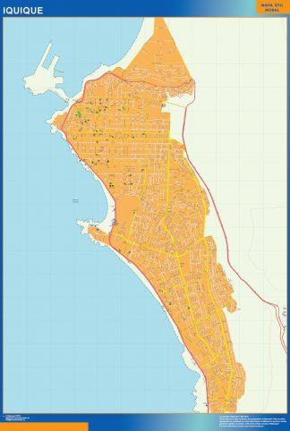 Mapa de Iquique en Chile enmarcado plastificado