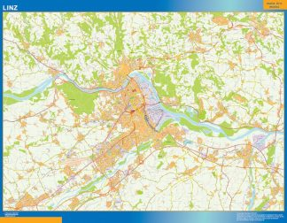 Mapa de Linz en Austria enmarcado plastificado