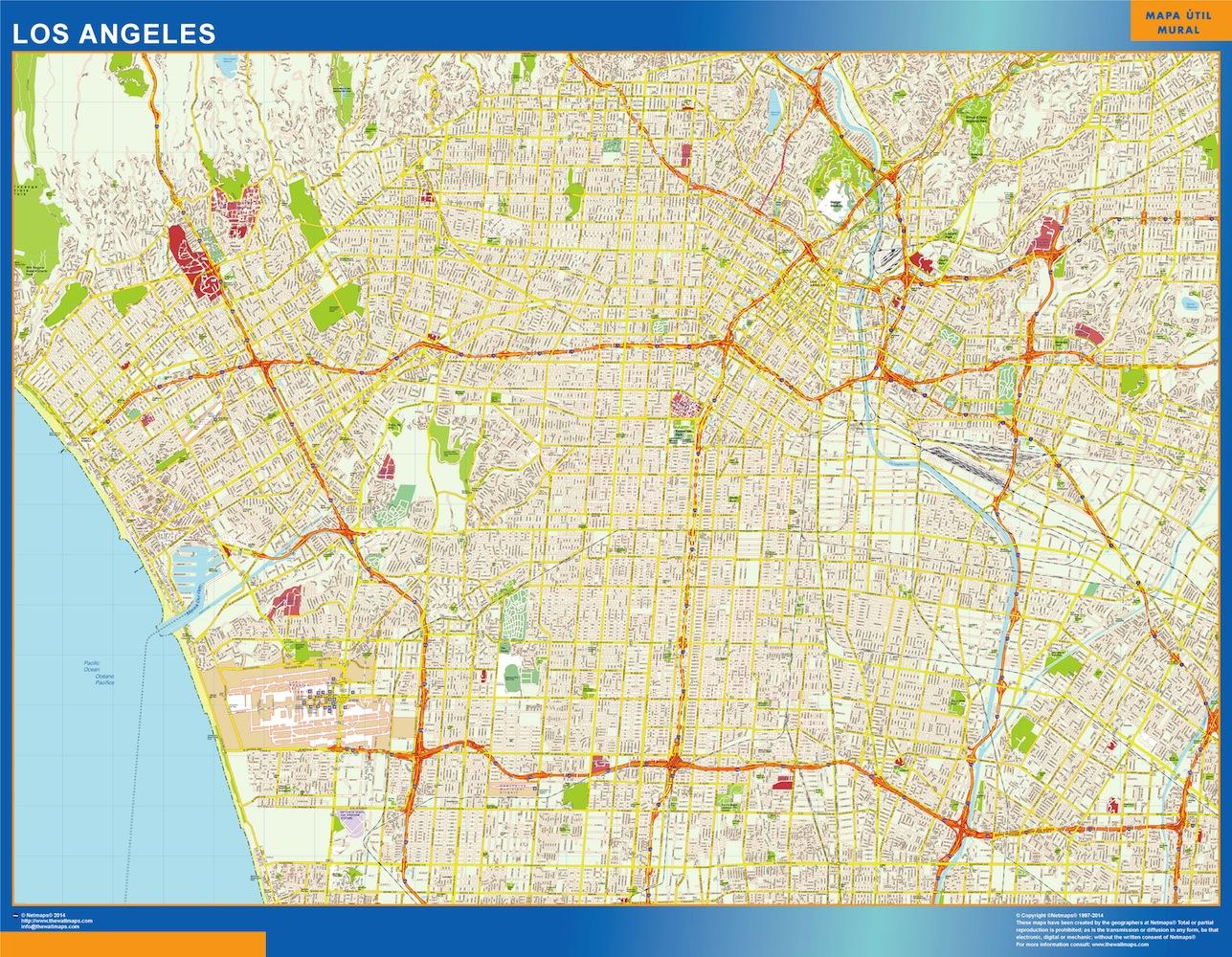 Mapa De Sevilla Capital.Mapa De Los Angeles Vinilo Adhesivo