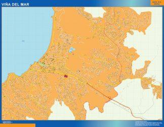 Mapa de Viña del Mar en Chile enmarcado plastificado