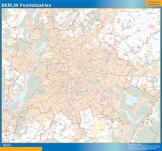 Mapa región Berlin codigos postales enmarcado plastificado