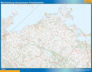Mapa región Mecklenburg-Vorpommern codigos postales enmarcado plastificado