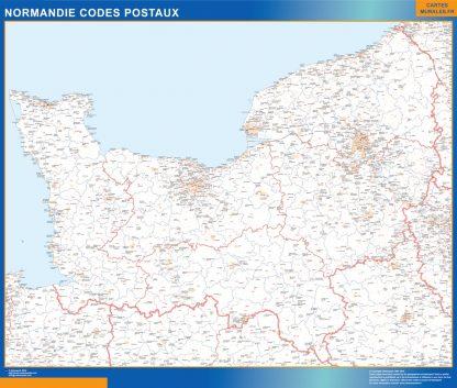 Mapa región Normandie postal enmarcado plastificado