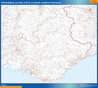 Mapa región Provence-alpes cote azur postal enmarcado plastificado