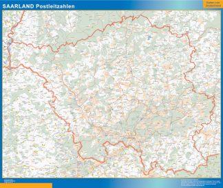 Mapa región Sarre codigos postales enmarcado plastificado
