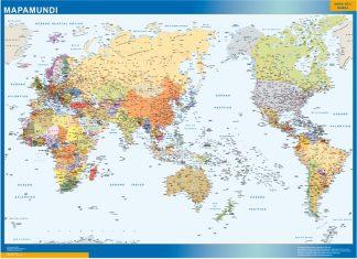 Mapamundi Pacifico enmarcado plastificado