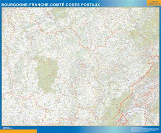 Región Bourgogne Franche Comte codigos postales enmarcado plastificado