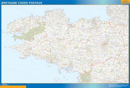 Región Bretagne codigos postales enmarcado plastificado